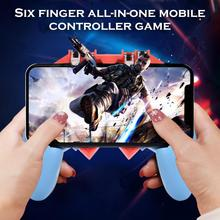 AK65 PUGB Handle Mobile Game Controller Six Finger All - In One Free Fire Button Joystick Gamepad