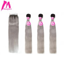 Maxglam Brazilian Human Hair Bundles with Closure Straight Ombre 1b/Grey Color 3 Hair Bundles with Closure Remy Hair Extension(China)