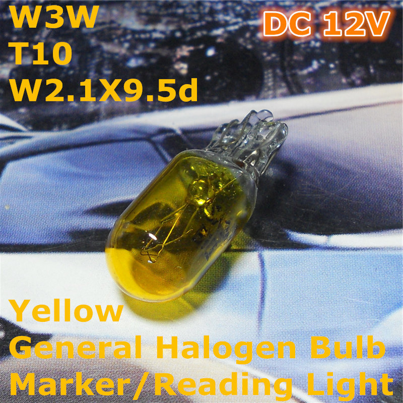 12V General Halogen Car Bulb Lamp Yellow Color W5W T10 W2.1X9.5d for Width Marker License Board Top Reading Light