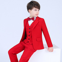 New Kids Wedding Suit Sets For Flower Boys Child Formal Tuxedos Dress Outfits Boys Blazer Vest Shirts Pants Bowtie Clothing Set