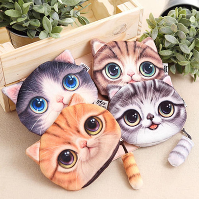 Color Random Small Tail Cat Coin Purse Cute Kids Cartoon Wallet Kawaii Bag Coin Pouch Children Purse Holder Women Coin Wallet thinkthendo 3 color retro women lady purse zipper small wallet coin key holder case pouch bag new design