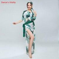 2018 Women Belly Dance Dress 2 Colors 3pcs Dress Waist Towel Scarf Costumes Dress Professional Women
