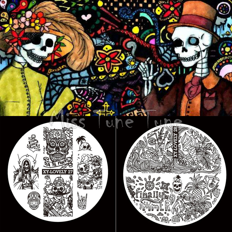 2pcs Halloween Small Size Nail Stamping Plate Image Transfer Templates Stamp Tool Skull Mexican Day Of The Dead