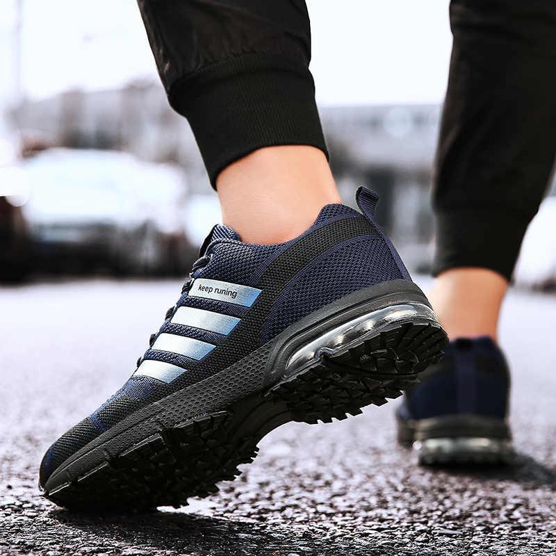 Мужские кроссовки с воздушной подушкой, Классическая противоскользящая резиновая Модная трикотажная сетчатая мужская повседневная обувь, уличные упражнения тренировка, прогулочная обувь
