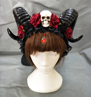 Cosplay Horns Headband Gothic Devil Floral Horns Headpieces Halloween Skull Accessories with Veil Fancy Dress Hair Accessories