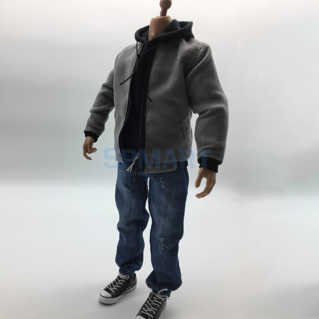 1/6 Scale Mens Clothes Gray Bomber Jacket Hoodie Jeans Hat Canvas Shoes Set for 12'' Hot Toys Male Action Figure Accessories graphic flocking mens hoodie