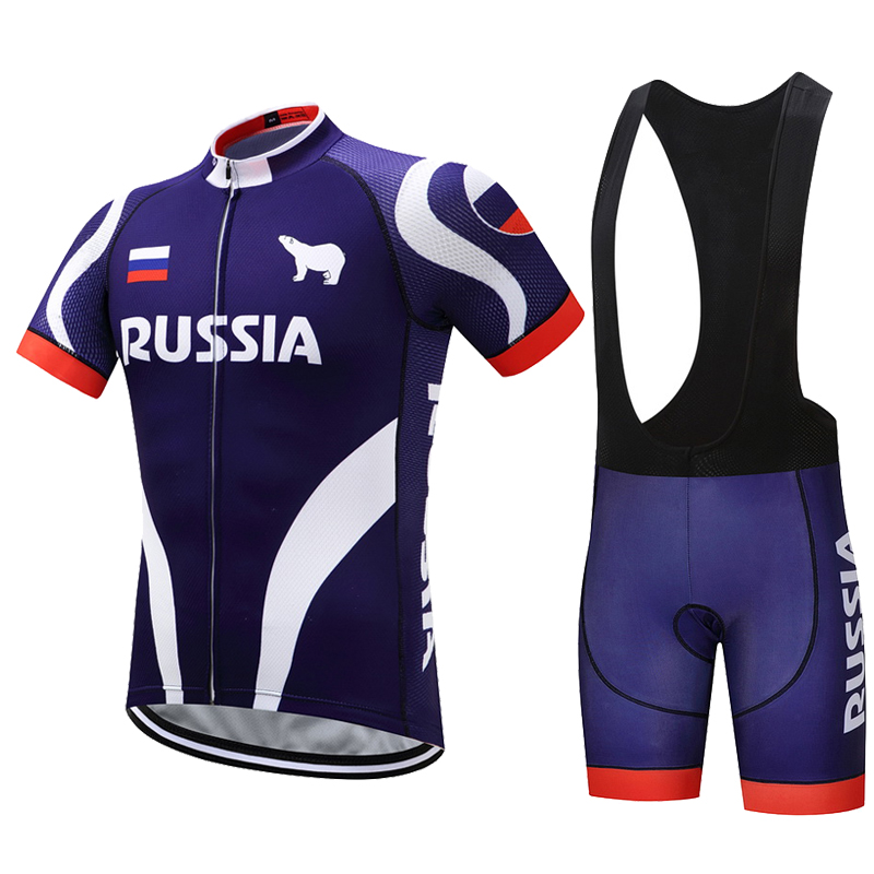 Summer Russia Cycling Jersey Set Men Mountain MTB Jerseys Bib Shorts Bicycle Clothes Bike Uniform Cycling Clothing Kit Skinsuit