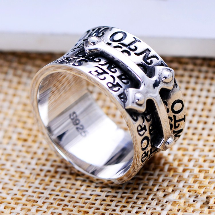 S925 small silversmith silver jewelry Scripture cross ring male ring factory direct ring ring luisa vannini jewelry ring