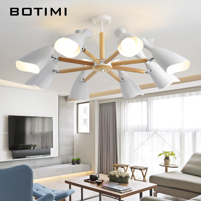 BOTIMI New Arrival Chandelier Lighting For Living Room LED Chandeliers Wooden Lustres E27 Kitchen Lights Indoor Hanging Light in Chandeliers from Lights Lighting