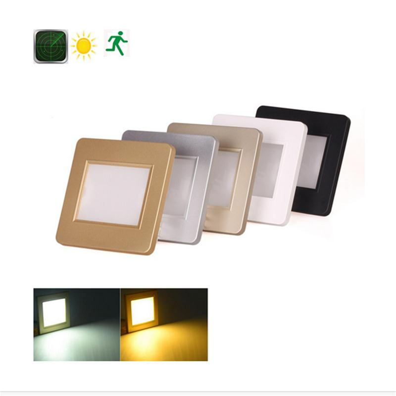 Intelligent Radar+Light Sensor Step Lights Recessed Night Lamp Staircase Hallway Sconce Infrared Human Body Induction Wall Lamps