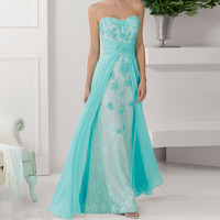 2018 Hot Sale Elegant Aqua Long Formal Strapless Party CP 13 abito da sera lungo vestido de festa bridesmaid dress