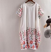 Heavy-dimensional flowers embroidery short sleeve National wind dress mori girl