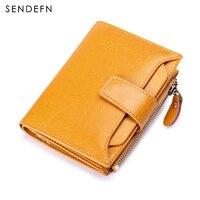 Sendefn RFID Women Bifold Oil Wax Quality Wallet Brand Women Zipper And Button Short Style Women's Purse 4 Colors 5191 68