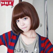 mac makeup cosplay wig ll! 100% Real hair! Fashion Bob head brown hair Really Hair Wig