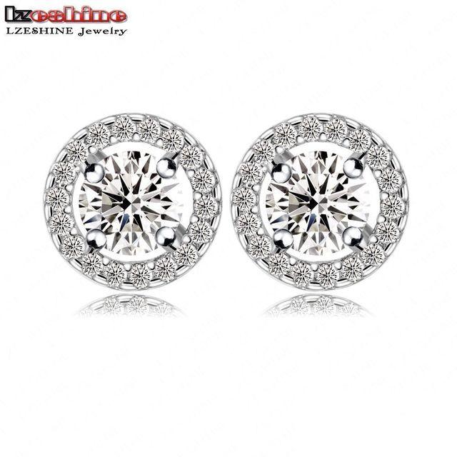 Luxury Round Stud Earrings Hearts Arrows Cut Top Quality Cubic Zirconia Women Jewelry