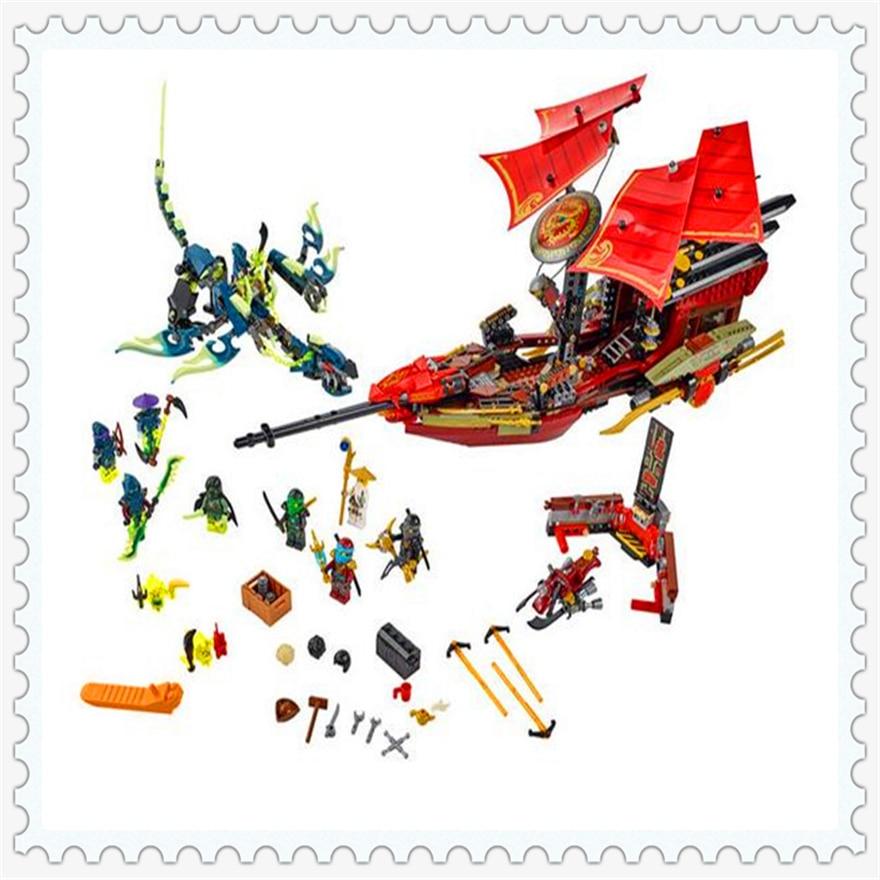 1265Pcs Ninja Final Flight of Destiny's Bounty Building Block Toys Enlighten 10402 Gift For Children Compatible Legoe 70738 decool 3117 city creator 3in1 vacation getaways building block 613pcs diy educational toys for children compatible legoe