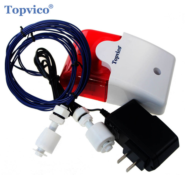 Wycieku wody przepełnienie Alarm czujnik 110dB głos 1.0m kabel wysokiej niskiego poziomu wody system alarmowy do domu