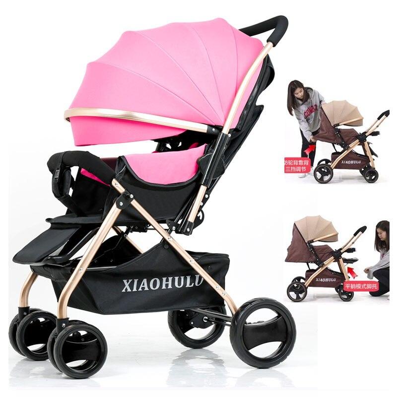 Portable Reverse Handle Sit Flat Lying Lightweight Umbrella Baby Stroller Folding Shock Absorber Large Wheel Baby Carriage Pram