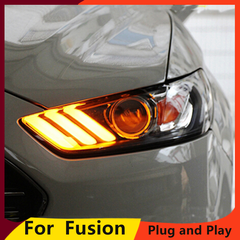 KOWELL Car Styling For  Mondeo Headlights 2013 2014 2015 Fusion LED Headlight Original DRL Bi Xenon Lens High Low Beam Parking