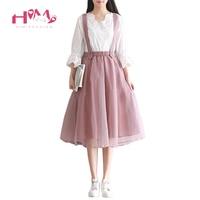 2018 Mesh Tulle Skirt Summer Japanese Mori Girl Women Long Suspender Skirts Korean Elastic Waist Midi Tutu Lolita Pink Saias