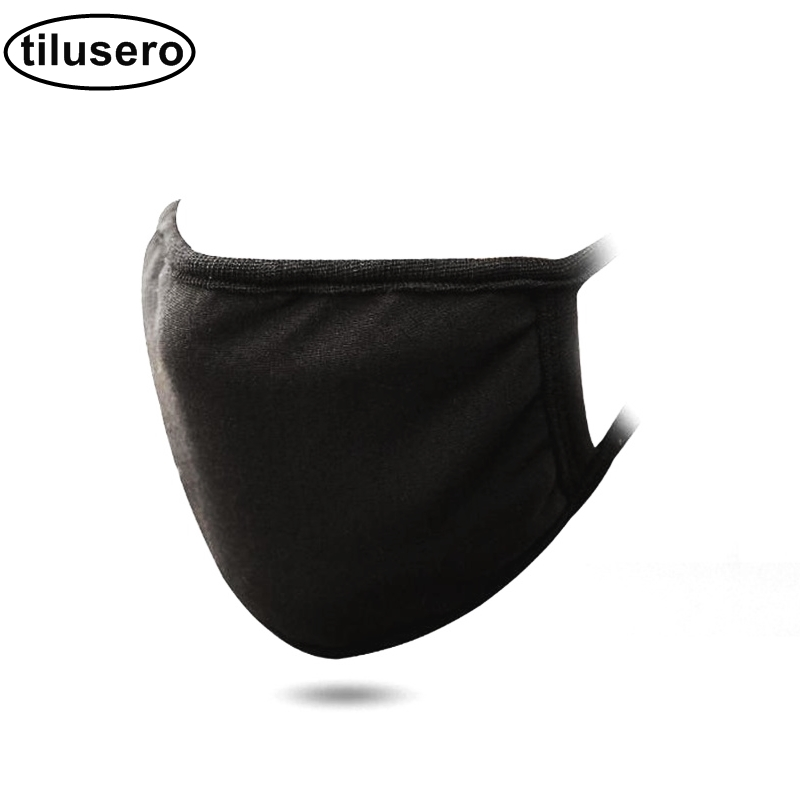 1pcs Mouth Mask Black Cotton Blend Anti Dust Nose Protection Face Mouth Mask Fashion Reusable Masks for Man Woman F034