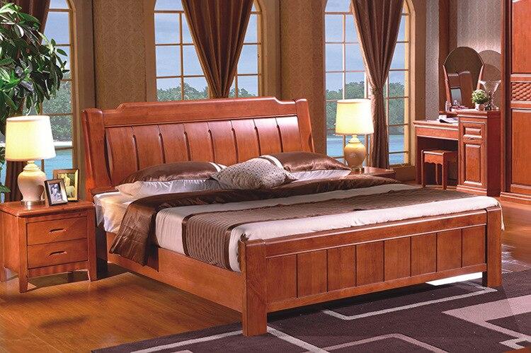 Doble de roble de madera maciza 1.8 m 1.5 m cama de madera maciza ...