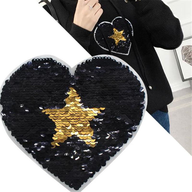 Patch deal with it clothes t shirt women stickers Reversible change color sequins black heart 16cm star patches for clothing