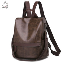 New Fashion Casual Women Anti-theft Lady PU Leather Backpack MultiFunction Female Larger Capacity School Shoulder Bag