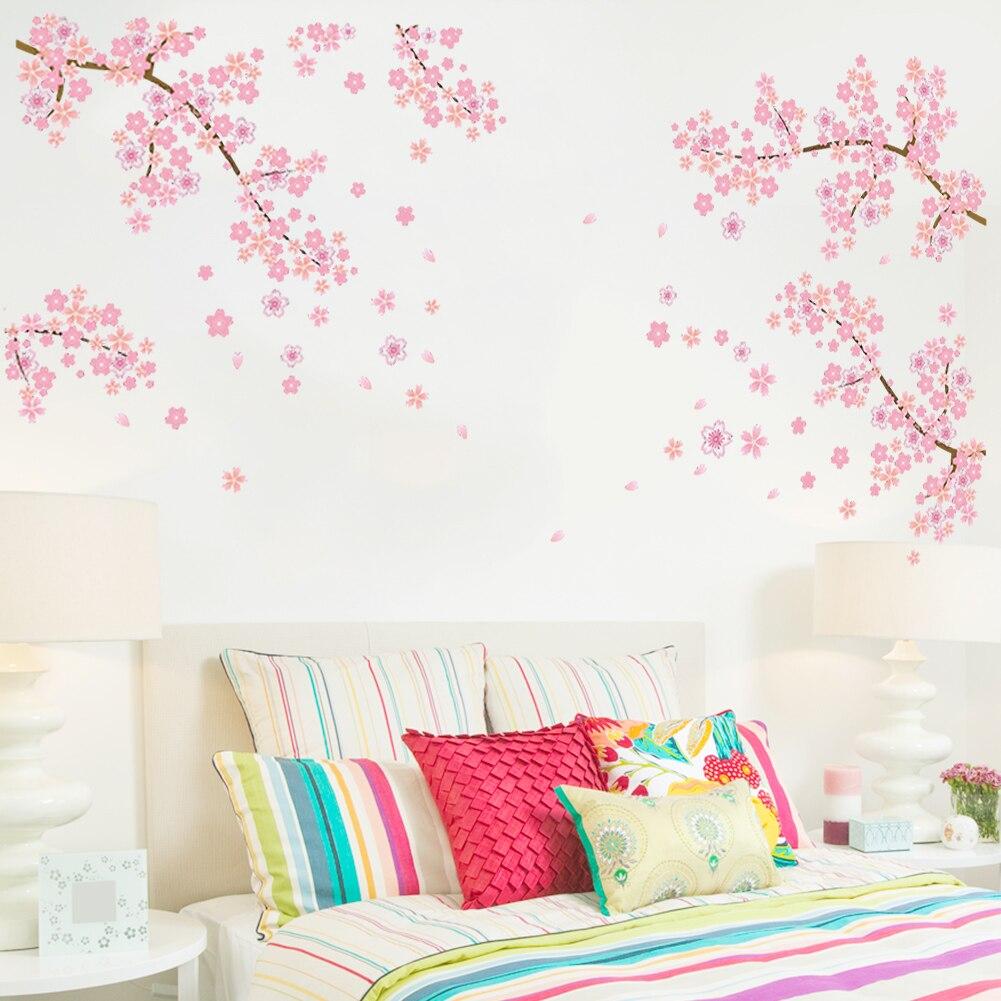 Летающий цветок цветки сакуры, японской вишни гостиной спальни ТВ фон украшения стикеры Наклейка домашний декор