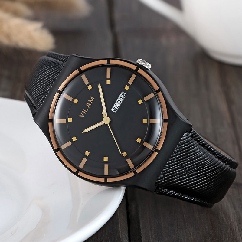 VILAM New 2018 Quartz Watch Men Top Brand Luxury Famous Calendar Date Wrist Watch Male Clock For Men Hodinky Relogio Masculino classic simple star women watch men top famous luxury brand quartz watch leather student watches for loves relogio feminino