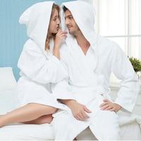 Bathrobe Women Winter Hooded Thicken Nightgowns Bathrobe Women Pajamas Bath Towel Fleece Warm Robe Sleepwear Womens Robes White