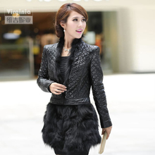 Autumn Winter Ladies' Real Natural Sheepskin Leather Coat with Fox Fur Hem Women's Fur Outerwear VF0462