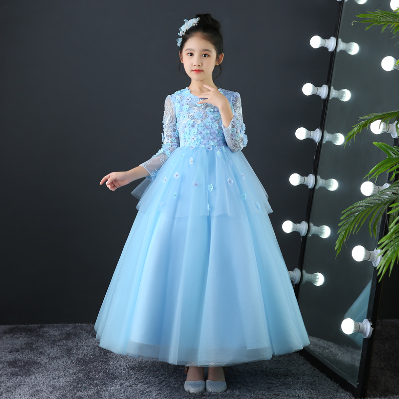 Spring Summer Children Girls Elegant Flowers Birthday Wedding Party Blue Long Dress Kids Baby Evening Party Host Pageant Dress