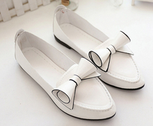 2016 Women Loafers Spring Summer PU Leather Bow Flat Shoes Women's Driving Boat Shoes For Woman Ballet Flats chaussure homme