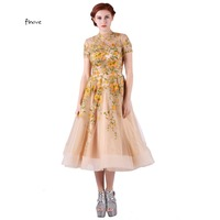 Tulle Aplic Prom Dresses Elegant Backless With High Neck Short Sleeve A Line Dresses Cocktail Dresses
