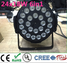 24×18 w rgbwa + uv 6in1 led par led lüks dmx led düz par işıklar dj aydınlatma uv 6in1 rgbwa led par işık alüminyum alaşım kabuk