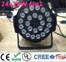 24×18 W RGBWA + UV 6in1 LED Par LED De Luxe DMX Led Flat Par lumières dj d'éclairage rgbwa uv 6in1 led par la lumière En alliage D'aluminium shell
