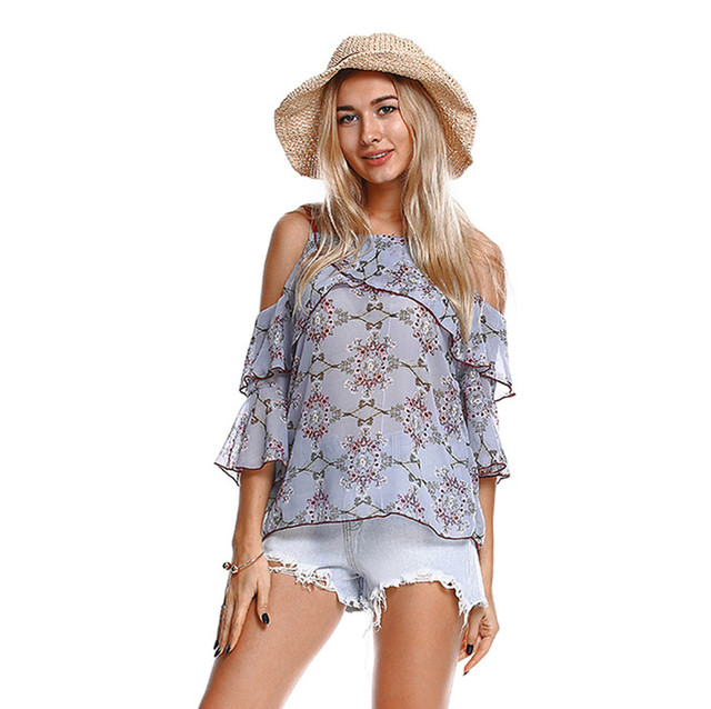 2018 Elegant Summer Womens Tops And Blouses Ear Ruffle Off Shoulder Sling Print Simple Casual Fashion Blouse Korean Clothes