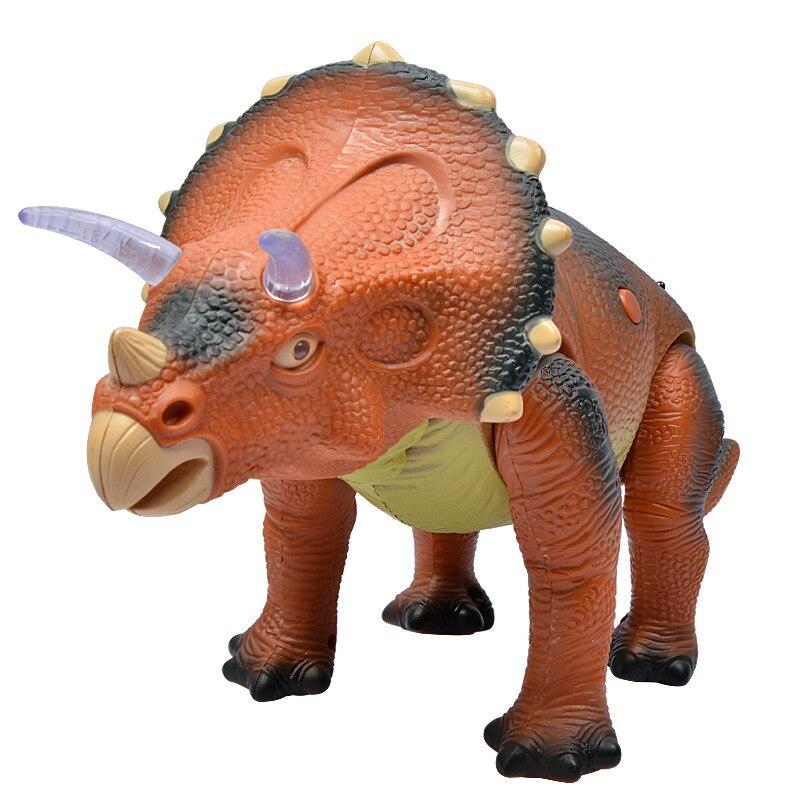 Électrique Télécommande Triceratops Dinosaure Jouet Modèle Son Et Lumière Animal Prêt-à-aller Batterie Exploité En Plastique Unisexe