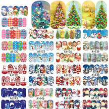 SWEET TREND 1Sheet Christmas Series Water Transfer Nail Stickers Decals Watermark Tattoo Full Wraps Nail Decoration LAA1129-1152