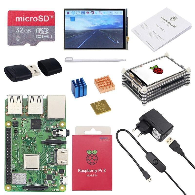 Original raspberry pi 3 modelo b plus com wifi & bluetooth + 3.5 polegada touchscreen adaptador de alimentação caso dissipador de calor para pi 3 b mais 3b +