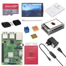 Оригинальный Raspberry Pi 3 Model B Plus с поддержкой Wi Fi и Bluetooth + 3,5 дюймовый сенсорный экран + Мощность адаптер + чехол + теплоотвод для Respberry Pi 3B +