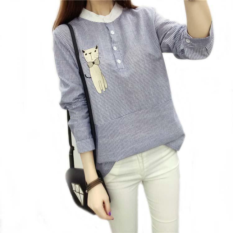 Mujeres Cat Impreso Blusa Camisa de Lino Del Algodón  Nuevo Otoño de La Raya Dul