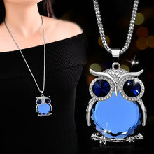 RE Women sweater chain necklace owl design rhinestones crystal pendant necklaces jewelry clothing accessories drop shipping K35 цена