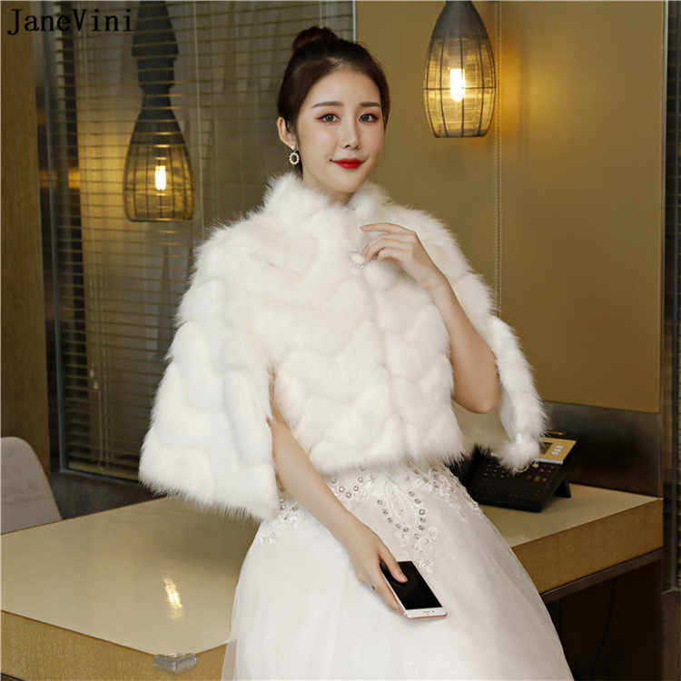 JaneVini 2019 New White Faux Fur Winter Bride Coat Wraps High Neck Wedding Evening Prom Party Shawls Cape Bolero Etole Fourrure