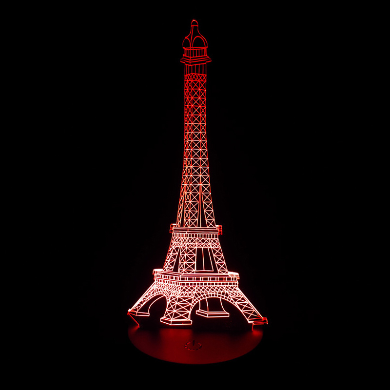 1pcs 3D Lamp LED Night Light The Eiffel Tower 3D Illusion
