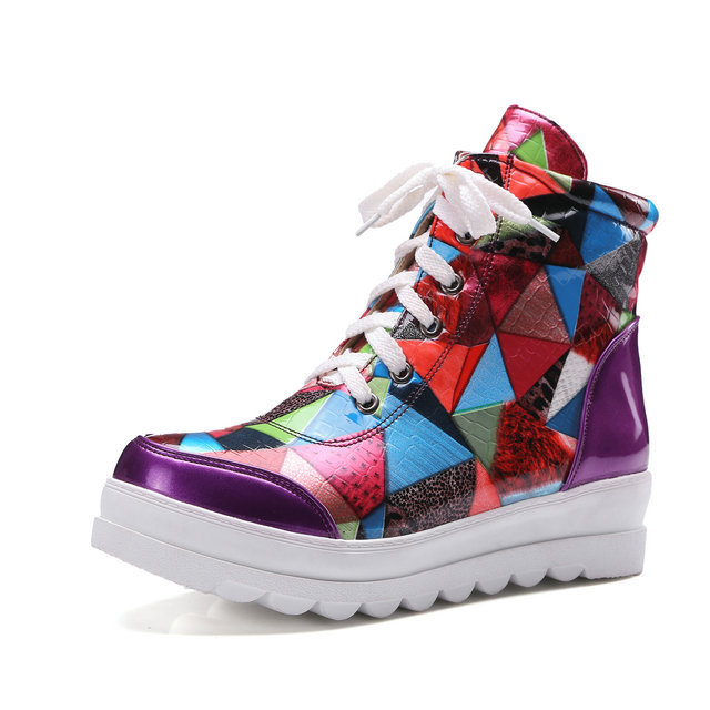 ФОТО new fashion boots Personalized boots ankle women shoes Colourful shoes platform flat autumn women's boots shoes Size 34-43
