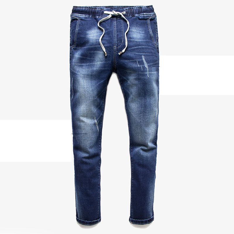 ФОТО Elastic Jeans for Men with Slim Fit Stretch Jogger Pants Blue