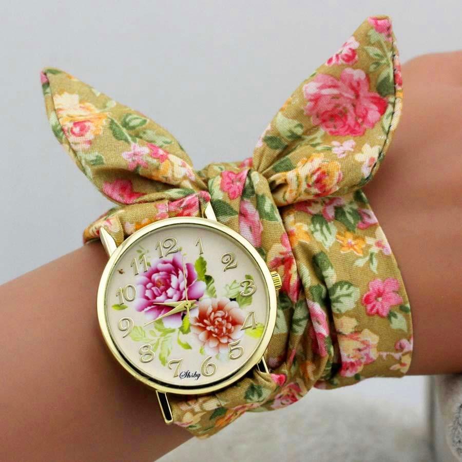 shsby dizains Sieviešu ziedu auduma rokas pulkstenis zelta modes - Sieviešu pulksteņi - Foto 4