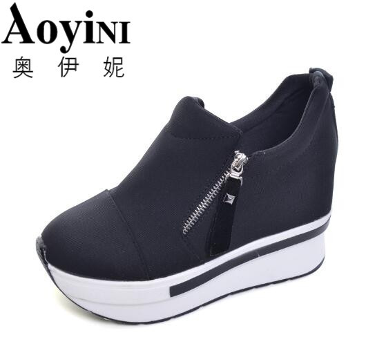 2017 New Platform Shoes Woman Wedges Women Boots Creepers Slip On Ankle Boots Fashion Casual Women Shoes